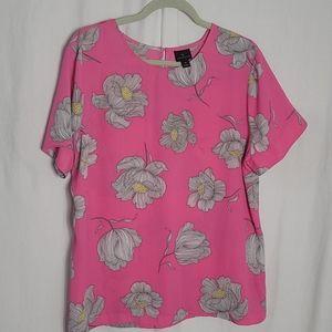 Worthington Blouse  Pink Pop Art  size XL